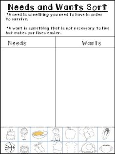 Printables Needs Vs Wants Worksheets kindergarten student and the ojays on pinterest this is a picture sort of things we need vs want great addition to your social studies lesson needs wants