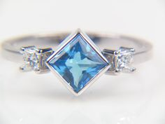 Swiss Blue Topaz and Diamond Ring $575.00