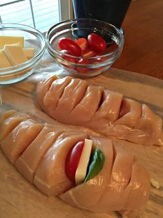 Hasselback Chicken Stuffed with Mozzarella, Tomato and Basil Recipe from Walking on Sunshine Recipes.