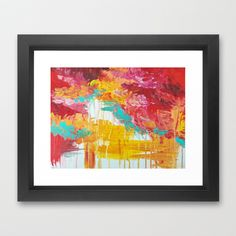 AUTUMN SKIES - Amazing Fall Colors Thunder Storm Rainy Sky Clouds Bold Colorful Abstract Painting Framed Art Print by EbiEmporium - $37.00