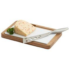 """Oak Wood Cheese board with Ceramic & Knife - 11"""" x 7"""" x 3/4"""""""