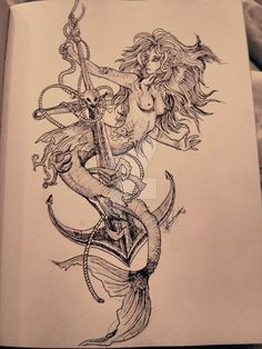 mermaid on a sea anchor drawing - Google Search