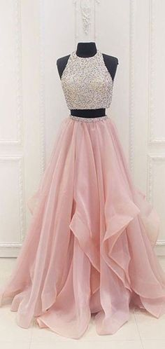 5a159ea5ba1e Two Piece Dazzling Halter Organza Long Prom Dress,Graduation Sweet 16 Dress ,GDC1216