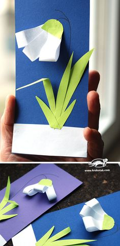 DIY SNOWDROPS | krokotak Winter Crafts For Kids, Spring Crafts, Diy For Kids, Flower Crafts, Diy Flowers, Kindergarten Art Projects, Diy Ostern, Spring Art, Mothers Day Crafts