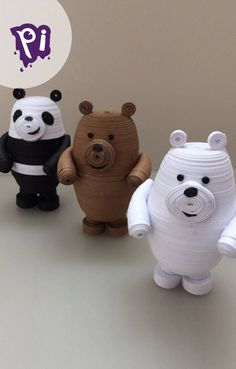 Quilling Dolls, Quilling Animals, Paper Quilling Designs, Quilling Paper Craft, Quilling 3d, Pardo Panda Y Polar, We Bare Bears, Diy Sock Toys, Origami 3d
