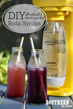 Ever wondered how to make your own Healthy Soda Syrup? Kristy shares two recipes for all natural healthy and refined sugar free sodas - the Strawberry Sparkle and Blueberry Fizz. Perfect for entertaining or enjoying at home! - March 16 2019 at Healthy Soda, Healthy Drinks, Nutrition Drinks, Healthy Recipes For Two, Healthy Eats, Soda Stream Recipes, Soda Syrup, Homemade Syrup, Vegan Recipes