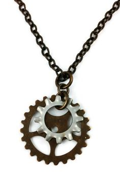 Stainless Steel and Brass Necklace Steampunk Gears Industrial Gothic Josephine Brooks Designs http://www.amazon.com/dp/B00B40KXUC/ref=cm_sw_r_pi_dp_omvswb08BMN72