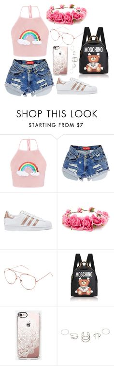 """Untitled #270"" by nicolezooms on Polyvore featuring adidas Originals, Forever 21, Moschino and Casetify"