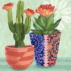 Zen Verde Cactus Orange Flower by Jennifer Brinley