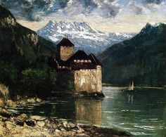 tonypetersart: A print of this painting hung over our couch at home when I was a kid growing up. Courbet was my introduction to art. Gustave Courbet Chateau du Chillon, oil on canvas. Art Sur Toile, Oil Painting Gallery, Painting Art, Oil Canvas, Gustave Courbet, French Paintings, Art Database, Oil Painting Reproductions, Tour Eiffel