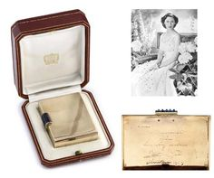 PRINCESS MARGARET'S ROYAL CHRISTMAS PRESENT A GEORGE V GEM-SET GOLD CIGARETTE-CASE MARK OF JACQUES CARTIER, LONDON, 1940  Oblong, with reeded cover and base and plain sides, with a square cut sapphire thumbpiece, the inside engraved with a facsimilie script presentation inscription, marked inside and on cover, the rim further engraved 'CARTIER LONDON', contained in a gilt-tooled red leather case labelled 'CARTIER PARIS 53 Rue de la Paix LONDON 115 New Bond Street NEW YORK. The inscription reads 'To Margaret from her very devoted Papa GR Christmas 1949.'  Given to H.R.H. The Princess Margaret, Countess of Snowdon by her father King George VI, Christmas 1949. Leather Case, Red Leather, Jacques Cartier, Royal Christmas, Vintage Cigarette Case, Casual Maternity, Princess Margaret, Orange Nails, Bond Street