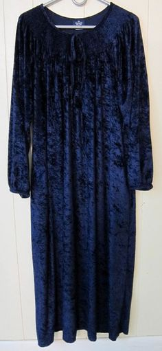 Granada Women's Size XL Lounge House Night Gown Blue Crushed Velour #Granada #Gowns