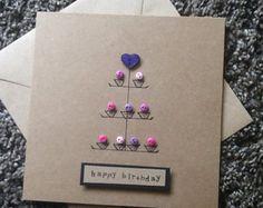 Carte de la carte-voeux d'anniversaire - cupcake - ami-maman - soeur-boutons - carte de félicitations-carte-cake stand-kraft baker