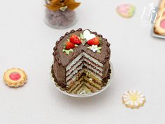 Chocolate and Strawberry Layer Cake - Miniature Food in 12th Scale for Dollhouse