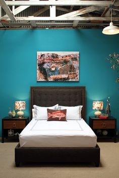 Bedroom with teal wall and brown bed. Teal, brown and white go so good together, I just love it. Calming, too.
