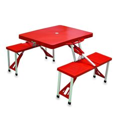 Picnic Time Aluminum Folding Table With Seats