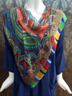 Very fine & soft luxury printed retro scarf in bright colours ..easy to tie in interesting eyecatching ways