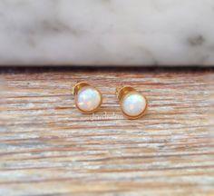 Twinkie Dot - Small Rainbow Opal Earrings Studs