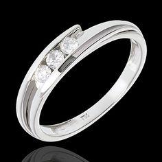 mariages Trilogie bipolaire or blanc  - 3 diamants - 0.16 carat