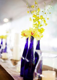 Sunflower Farm Wedding From Salt Harbor Designs Millie Holloman Photography Sparkly Bridal Yellow Centerpieces, Wine Bottle Centerpieces, Flower Centerpieces, Wedding Centerpieces, Wedding Decorations, Wine Bottles, Centrepieces, Centerpiece Ideas, Flower Arrangements