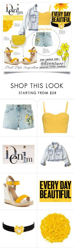 """""""yellow and denim"""" by jessicad110916 ❤ liked on Polyvore featuring Gucci, Tomas Maier, Hollister Co., Nicole Miller, Kenneth Jay Lane, Illamasqua and Kate Spade"""