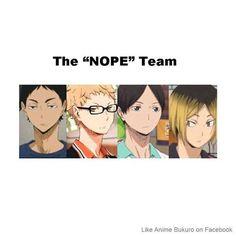 "The ""I don't really give a shit but I'm really good for the team"" squad // haikyuu funny Iwaoi, Bokuaka, Kagehina, Kuroo, Nishinoya Yuu, Manga Anime, Anime Ai, Haikyuu Volleyball, Volleyball Anime"