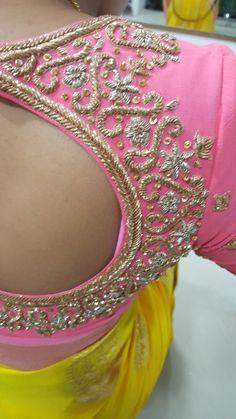 Pattu Saree Blouse Designs, Fancy Blouse Designs, Bridal Blouse Designs, Blouse Neck Designs, Maggam Work Designs, Zard, Floral Embroidery Patterns, Maggam Works, Kurti Designs Party Wear