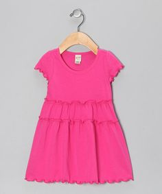 Look at this #zulilyfind! Hot Pink Tiered Lettuce-Edge Dress - Infant, Toddler & Girls by Kavio! #zulilyfinds