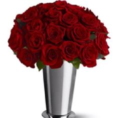 Red roses in a mint julep cup - great for a Kentucky Derby or horse race themed party