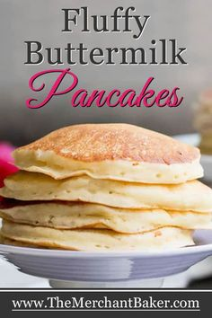 It's easy to make classic fluffy buttermilk pancakes… Fluffy Buttermilk Pancakes. It's easy to make classic fluffy buttermilk pancakes from scratch. This recipe makes a great base for other flavors and add ins. Buttermilk Pancakes Fluffy, Greek Yogurt Pancakes, Pancakes And Waffles, Homemade Pancakes Fluffy, Pancake Healthy, Best Pancake Recipe, Classic Pancake Recipe, Breakfast Healthy, Pancakes From Scratch