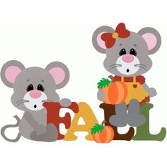 Silhouette Design Store: fall title with mice & pumpkins