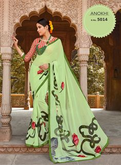 Printed Sarees, Abstract Print, Aurora Sleeping Beauty, Sari, India, Disney Princess, Casual, Green, Prints