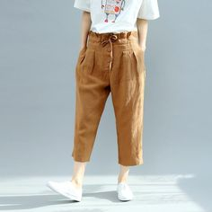 Falbala High Waist Button Down Linen Harem Pants Women Trousers. Pantaloni  Di Lino DonneVestiti ... 8c5fa6ace7b