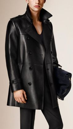 Burberry Cashmere-bonded Leather Trench Coat