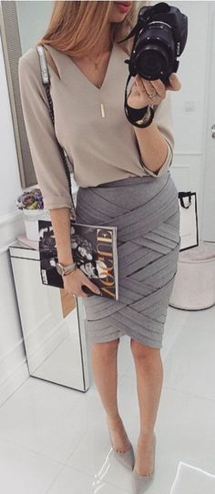 office style inspiration: blouse + skirt