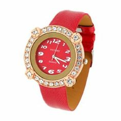 Como Lady Fashion Jewelry Victory Red Leather Wrist Watch New by Como. $7.46. 3 hands and Arabic numerals dial for easy to read.. Measurement: ~37mm in diameter of the watchcase,wristband is adjustable, approx. 235mm in length. Color: red strap. Fashion design - Fashion Watches are very charming for all occasions.. Weight: 32g. Description:Womens Wrist Watches in Fashion design with unique exquisite appearance.Golden round shape watchcase with simulated crystal ...