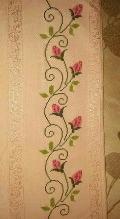 Towel with Cross-Stitch Cross Stitch Boarders, Cross Stitch Bookmarks, Cross Stitching, Cross Stitch Embroidery, Cross Stitch Needles, Cross Stitch Rose, Cross Stitch Flowers, Funny Cross Stitch Patterns, Cross Stitch Charts