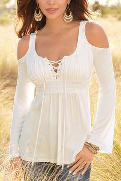 White Cold Shoulder Lace-up Chest Pleated Blouse - US$15.95 -YOINS