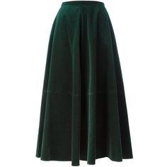 Mm6 Maison Margiela velvet maxi skirt ($565) ❤ liked on Polyvore featuring skirts, bottoms, saias, юбки, green, green maxi skirt, floor length skirts, long green skirt, velvet maxi skirt and green skirt