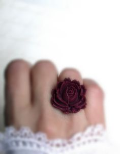 Vintage Ring With A Red Wine Color Rose by roomofyourown on Etsy