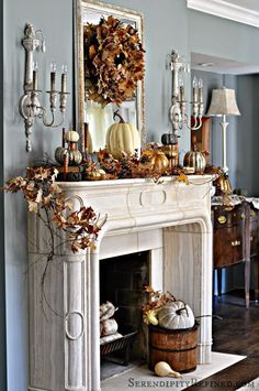 Now is the time of year when attention will be drawn to the dramatic heat source in living rooms, great rooms, and family rooms – the #fireplace. Join us for beautiful, inspiring ideas for decorating your fireplace mantel for Fall and #Thanksgiving on Hadley Court. Concrete Overlay, Diy Vanity