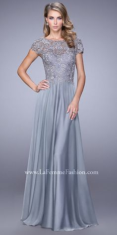All Over Lace Rosette Cap Sleeve Evening Dresses By La Femme Evening Dresses  With Sleeves f3433f27a