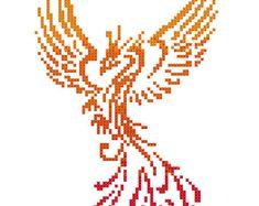 free phoenix cross stitch pattern | Colourful Phoenix Modern Counted Cross Stitch Pattern Chart | Instant ...