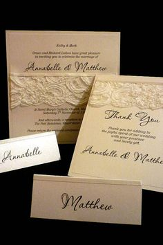 French Lace & Pearls wedding invitation SET by StunningStationery, $40.00