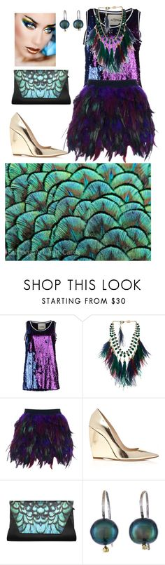 """""""Peacock Fashion"""" by marierose8 ❤ liked on Polyvore featuring TeeTrend, Rosantica, WithChic, Nicholas Kirkwood, Orduna Design, Masquerade, OC, Kat and Katrina"""