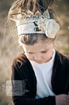 Vintage Princess Crown knit headband