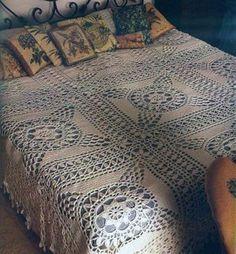 Big squares crochet bedspread with diagram