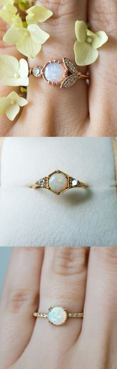 Unique vintage inspired Opal engagement rings by S. Kind & Co
