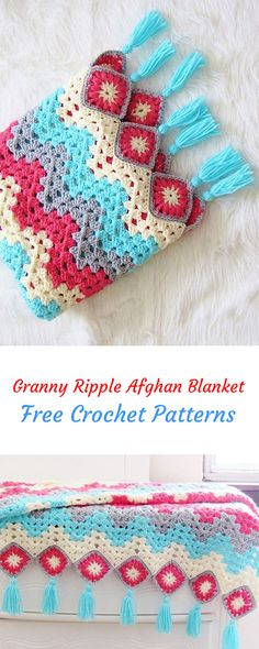 Granny Ripple Afghan Blanket Free Crochet Pattern #crochet #yarn #crafts #homemade #handmade #homedecor