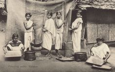 South India,Kerala ,women pounding paddy ,1800s